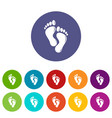 footprints icons set color vector image