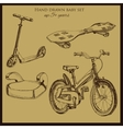 hand drawn vintage baby transport vector image vector image