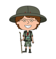 Happy boy scout standing with wooden stick vector image