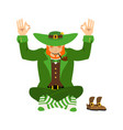 irish yoga leprechaun meditation dwarf with red vector image