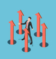 isometric businessman controlling business arrow vector image vector image