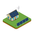 isometric eco friendly house with wind turbine and vector image