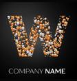 letter w logo gold-silver dots alphabet logotype vector image