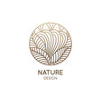 nature logo mountain fields round linear icon vector image vector image