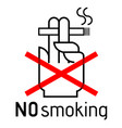 no smoking sign door no smoking area stiker icon vector image