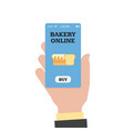 online shopping in the bakery online bakery vector image vector image