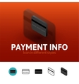 Payment info icon in different style vector image
