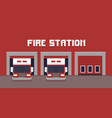 pixel art fire station vector image