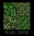 pixel camo seamless pattern big set green forest