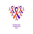 psoriasis awareness orange and purple ribbon set vector image vector image