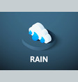 rain isometric icon isolated on color background vector image vector image