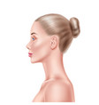 realistic blonde woman model beauty face vector image
