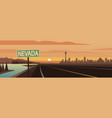 road trip nevada sign and landmarks vector image