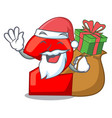 santa with gift number two red isolated on mascot vector image