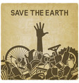 save planet concept littering planet vector image vector image