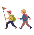 scout boys walking with flag wearing satchels vector image vector image