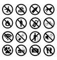 Set ban icons Prohibited symbols black signs vector image vector image