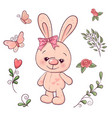 set little bunny and flowers hand drawing vector image
