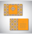 set of business cards with hand drawn mandala vector image vector image