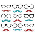 set pixel hipster glasses and mustache vector image