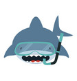 shark with diving equipment vector image vector image