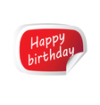 sticker red with happy birthday message vector image vector image