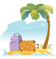 Tropical landscape with palm tree and suitcases vector | Price: 1 Credit (USD $1)