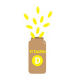 vitamin d pill capsule in plastic bottle yellow vector image vector image