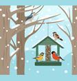 winter feeder snow woodland birds food on tree vector image vector image