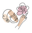 woman head with hand and flowers line vector image