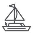 yacht line icon transportation and boat sailboat vector image vector image