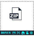 zip file icon flat vector image vector image