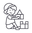 boy playing with toysbox of bricks line vector image