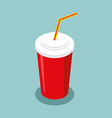 Red disposable paper cup with straw isometrics vector image