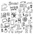 doodle social network internet connection vector image
