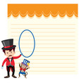 a note template circus theme vector image vector image