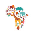 africa map with animals icons tribal vector image vector image