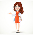 Beautiful cartoon female doctor with brunette hair vector image vector image