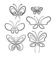 butterfly set black on white isolated symbol vector image