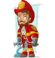 Cartoon bearded fireman with fire vector image