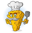 cheese chef cartoon character with a mustache vector image vector image