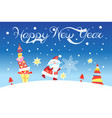 christmas card with santa claus and gifts vector image