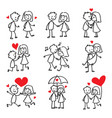couple in love stick figure doodle vector image