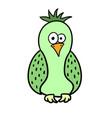 cute cartoon green bird parrot vector image vector image