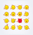 cute flat style emoji emoticon icon set vector image