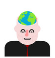 earth in head open head and planet vector image vector image
