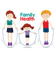 family doing workout together vector image vector image