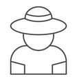 farmer thin line icon gardener vector image