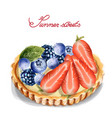 fruit tartlet invitation isolated watercolor vector image vector image