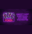 glowing neon sign of online poker application in vector image